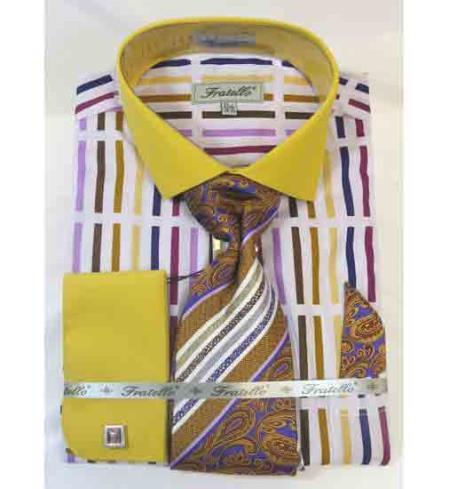 Stripe Multi Pattern Cotton French Cuff Mustard Multi Mens Dress Shirt