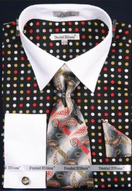 Buy AC-500 Multi Polka Dot Dress Fashion Shirt/ Tie / Hanky Set White Collar Two Toned Contrast Free Cufflinks Black/Green