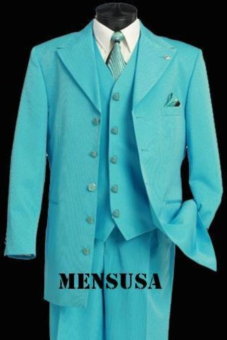 SKU# GHF723 Must have Beautiful Vested Thurquiose Fashion mens suits
