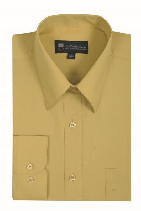 Traditional Plain Solid Color Mustard Mens Dress Shirt