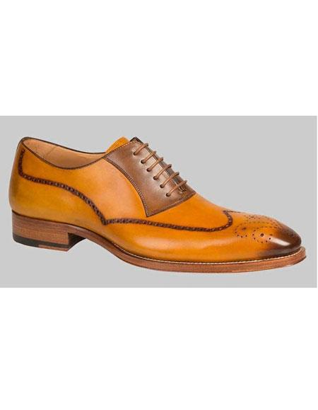 Buy GD477 Men's Mustard Tan Exotic Style Wingtip Oxford Leather Shoes Authentic Mezlan Brand