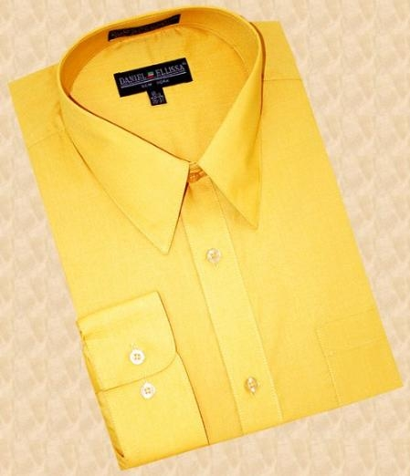 SKU#RK590 Gold~Yellow~Mustard Cotton Blend Dress Shirt With Convertible Cuffs