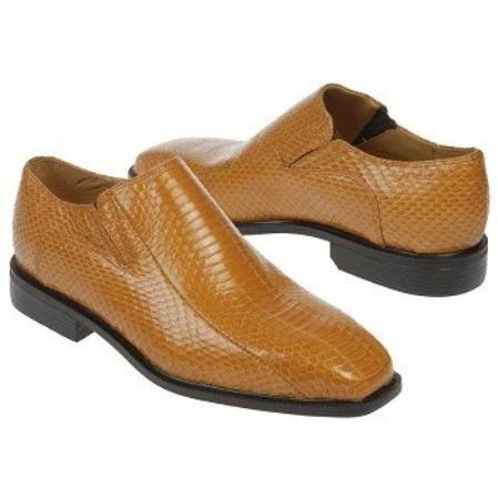 SKU#MT534 Mustard Snake Embossed Leather Shoes $950