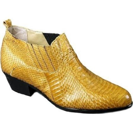 SKU#MU15064 Mustard~Gold Pointy toe demi-boot in genuine snake skin with side gore $700