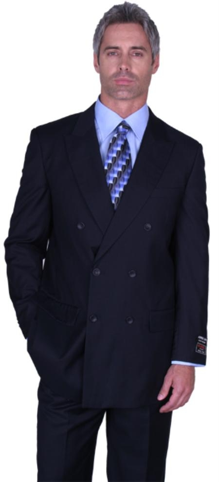 SKU# ASK469 JPR-27 SOILD NAVY DOUBLE BREASTED SUPER 150S WOOL SUIT HAND MADE $179
