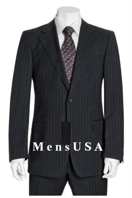 SKU# OCS841 NEW Black & Gray Pinstripe Suit Wool 2 Button Jacket Pleated Pants No non back vent coat style coat
