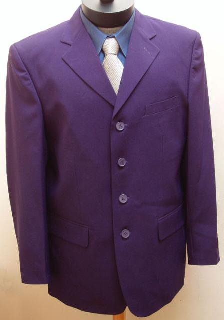 SKU#MUT44 NEW MENS Dress High Fashion 4-Button Deep Dark PURPLE Jacket~Blazer $99