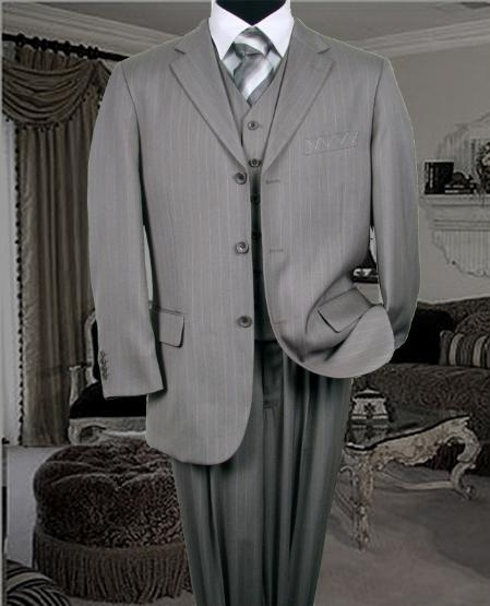 SKU: SKU5361 TS-28 NICE 3PC 3 BUTTON COLOR GREY VESTED MENS three piece suit $169