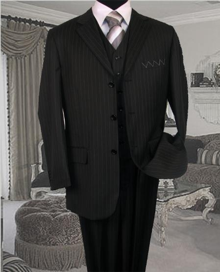 SKU:SKU8787 TS-35 3PC 3 BUTTON COLOR BLACK VESTED MENS three piece suit