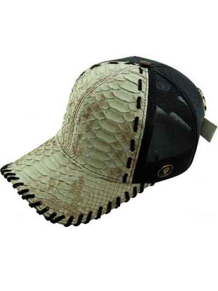 Natural Genuine Ostrich Python Baseball Cap