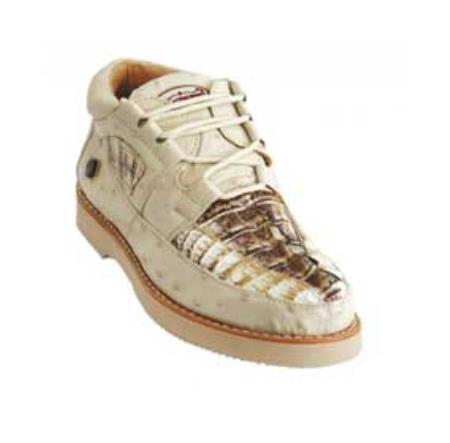 SKU#KA1344 Los Altos Natural Genuine Crocodile ~ Alligator / Ostrich Casual Shoes