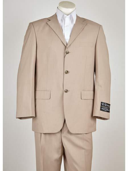 Buy SM1020 Men's Natural Notch Lapel Classic Fit 3 Button Single Breasted Closure Suit