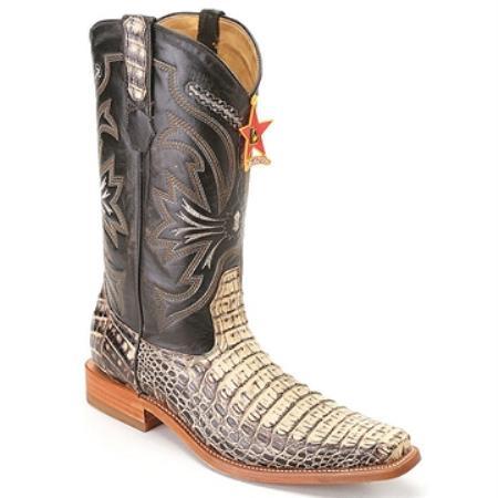 Los Altos Boots Black & Natural Genuine Crocodile