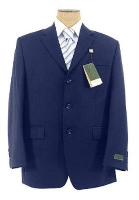 SKU#D833GA Natural Blue (Light Navy Blue(Not Dark) Wool Blend 3 Buttons Suit Pleated Pants $139