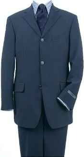 SKU#TH03 Natural Teal Blue (Light Navy Blue(Not Dark) Wool Blend 3 Buttons Suit Pleated Pants $199