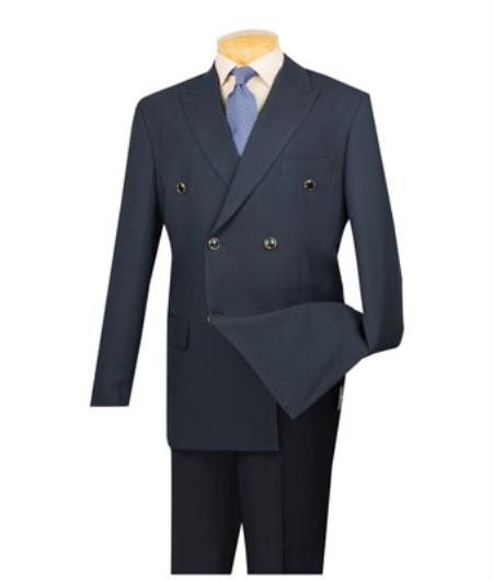 Lucci Men's Dark Navy 6 Button Men's Double Breasted Suits Jacket Blazer - Dark Blue Suit Color - Dark Blue Suit Color