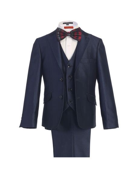 Navy Blue Suit For Men 2 Button Notch Lapel Boys Kids Sizes Suit With Pant Perfect for toddler wedding  attire outfits