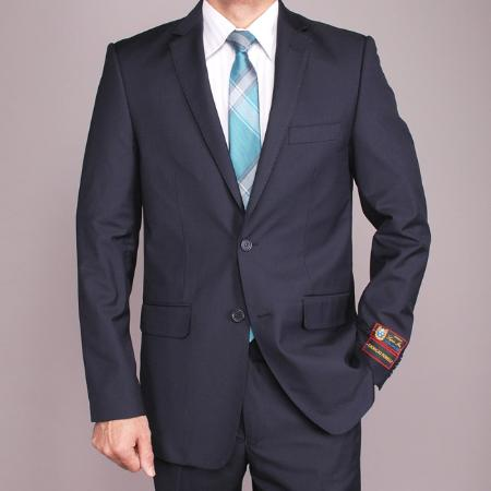 Mens European Skinny Notch Lapel No Pleated Pants Dark Navy Blue Suit For Men 2-button Slim-fit Cheap Priced Business Suits Clearance Sale