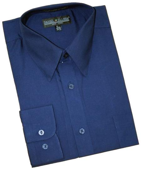 Navy Blue Cotton Blend Dress Shirt With Convertible Cuffs