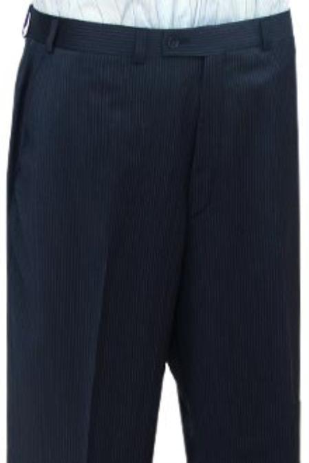 SKU#HGT459 Cotton Summer Light Weight Navy Blue Stripe CK Flat Front Pant