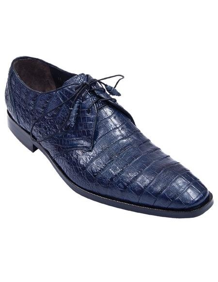 Los Altos Genuine Crocodile Caiman Belly Oxfords Navy Blue Dress Shoe For Men