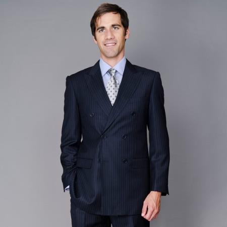 Mens Dark Navy Blue Suit For Men Stripe ~ Pinstripe Double Breasted Suit