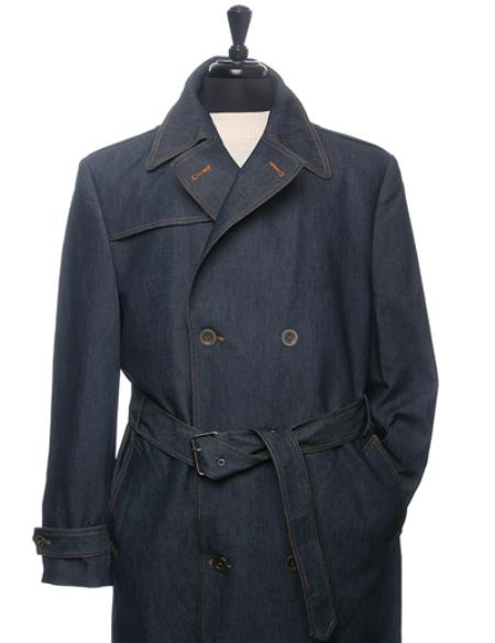 Mens Dress Coat Denim Trench Coat In Navy Blue Double breasted