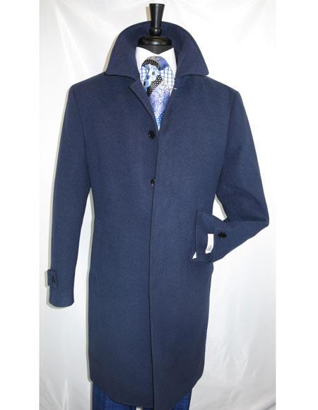 Mens Dress Coat Full Length Dress Top Coat / Overcoat in Navy Blue