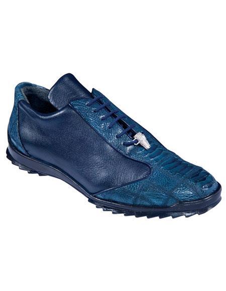 Mens Navy Blue Genuine Ostrich Leg Lace Up Los Altos Handmade Sneaker Shoes