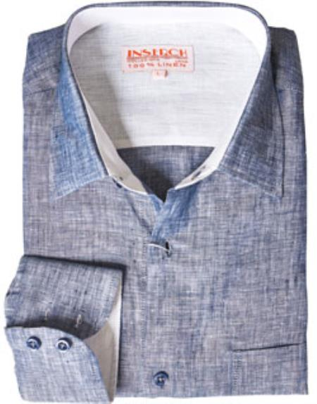 Blue Linen Mens Dress