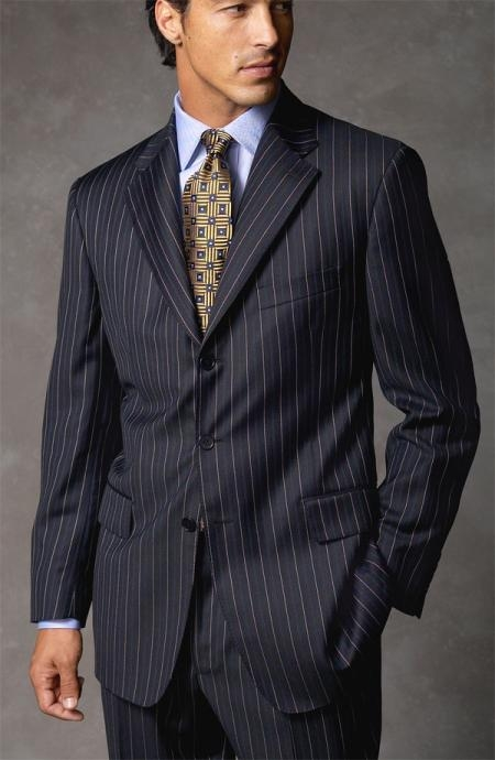 Joun Poul Notch Lapel Side Vented Dark Navy Blue Suit For Men Pinstripe Super 140's Wool Available in 2 or 3 Buttons Style Regular Classic Cut