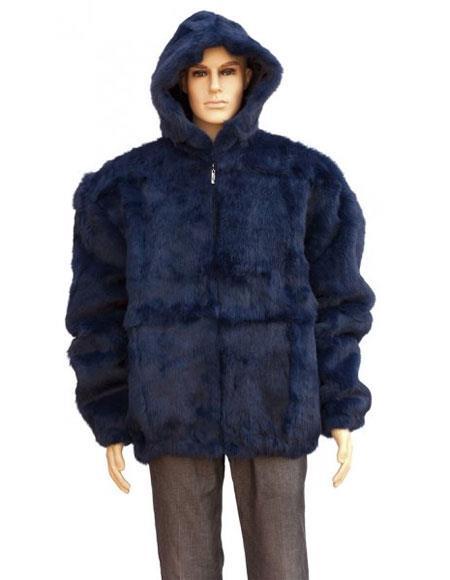 Mens Fur Navy Blue Full Skin Rabbit Pull Up Zipper Jacket