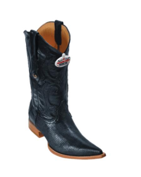 SKU#VT6299 Black  Ring Lizard Cowboy Boots