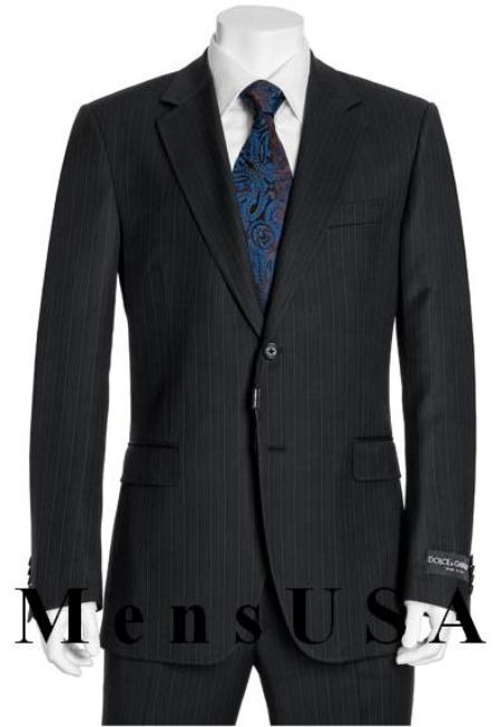 SKU#ANA_M_218S High Quality 2 Button Subtle Muted Conservative Navy Blue Pinstripe Slim Fit Wool Business ~ Wedding 2 piece Side Vented Suit Navy Pinstripe Available in 3 Buttons Style Regular Classic Cut