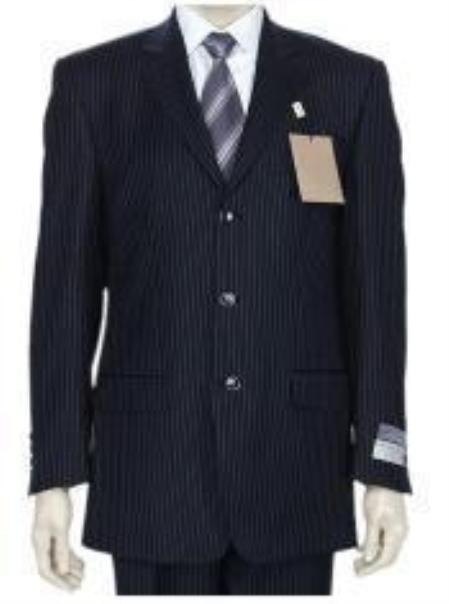 SKU# GKLL2 DarkNavy Blue Small Pinstripe premier quality italian fabric Super 140 Wool 3 Buttons Men&#39s Suit