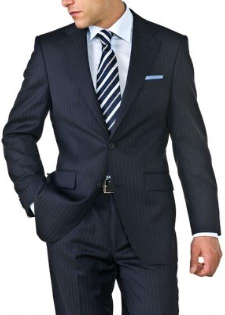 Mens Navy Blue Shadow Stripe ~ Pinstripe Two Button Suit