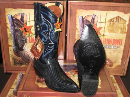 Los Altos Genuine Lizard Ring Western Cowboy Boot Navy Blue