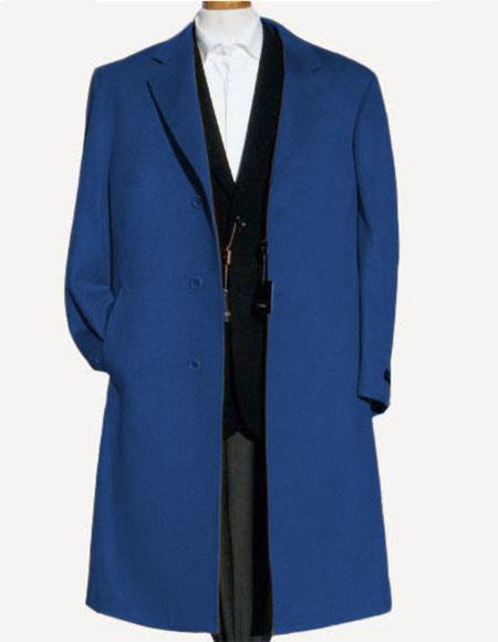 Mens Dress CoatAlberto Nardoni Indigo ~ Cobalt Blue  Soft Finest Grade Of Wool Overcoat ~ Long Mens Dress Topcoat -  Winter coat