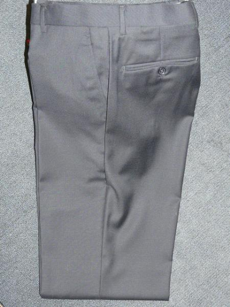Light Grey 100% WOOL , SUPER 140S Solid ~ Plain FRONT PANTS