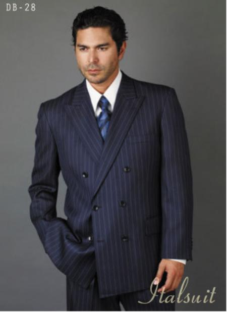 Navy Blue Suit For Men/PS Suit With Smooth Stripe ~ Pinstripe Full Canvanced Poly~Rayon Feel Pleated Pants