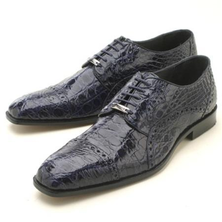 SKU#KA2341 Navy caiman ~ alligator Oxford