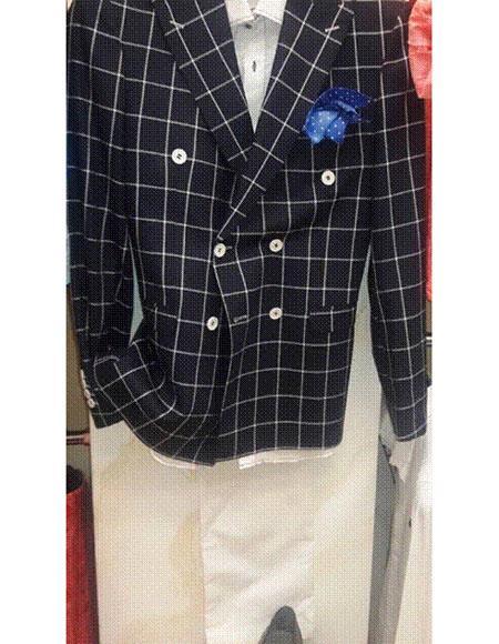 Alberto Nardoni Brand Black Wool Double breasted Plaid ~ Window Pane Blazer ~ Sport Coat Jacket