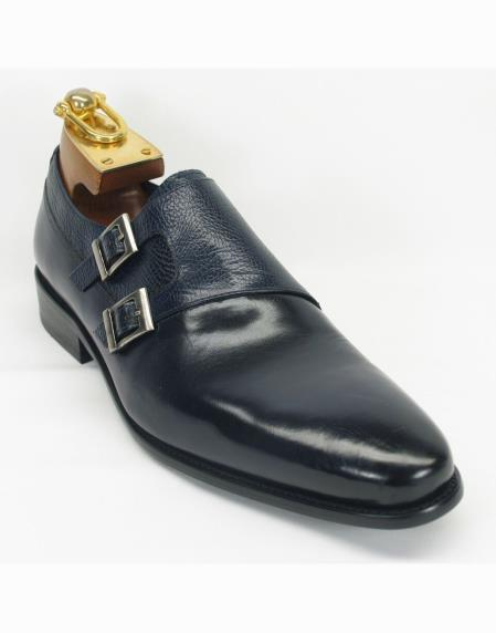 Mens Navy Leather Fashionable Carrucci Shoes Double Buckle Style