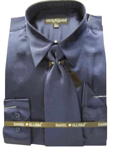Fashion Cheap Priced Sale Mens New Navy Satin Dress Shirt Combinations Set Tie Combo Shirts