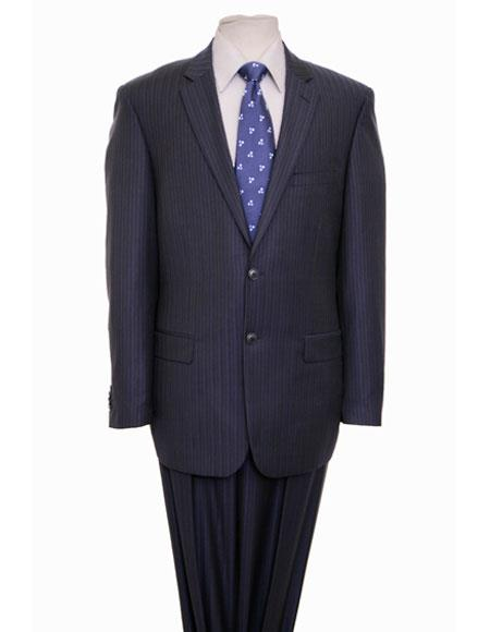 ZeGarie Mens Striped Pattern Single Breasted Notch Lapel Dark Navy Suit with Flat Front Pant