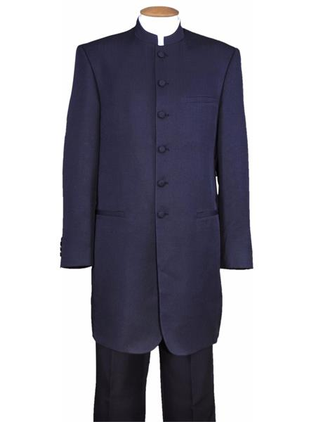 Mens Mandarin Banded Collar Navy 6 Button Wool Two Piece Long Jacket