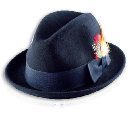 Buy Z-4826 New Men's 100% Wool Fedora Trilby Mobster Hat Navy