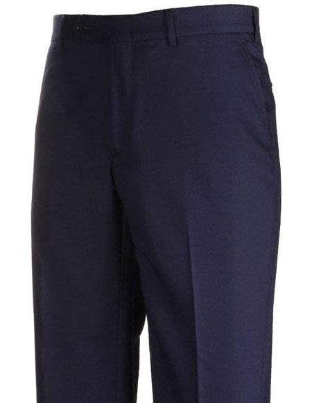 Mens Stylish Flat-Front Navy Atticus Classic Fit Casual Pant unhemmed unfinished bottom