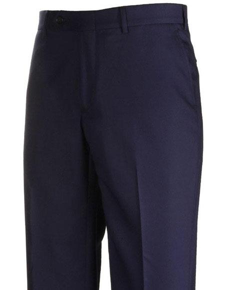 Mens Stylish Flat Front Navy Atticus Classic Fit Wool Pant unhemmed unfinished bottom