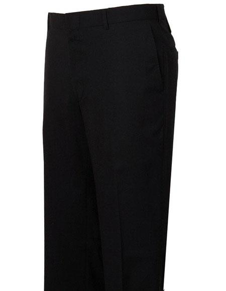 Mens Stylish Flat-Front Navy Atticus Classic Fit Wool Pant made in USA unhemmed unfinished bottom